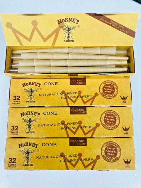 3 X HORNET Pre-Rolled Classic Hemp Cones 32 Cones Per Pack 96 cones 1 1/4