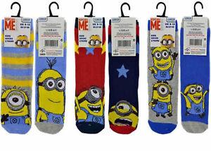 Minions Boys Socks Size 6-8.5 6 Pairs Stripes No Show