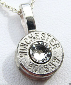 40 sw winchester bullet necklace pendant crystal silver gold image is loading 40 s amp w winchester bullet necklace pendant aloadofball Images