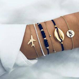 6Pcs-Women-Boho-Airplane-Shell-Bangle-Bracelet-Chain-Party-Charm-Jewelry-Sets