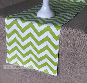 Details About Lime Chartreuse Green Table Runner Vintage Chevron Dining  Home Decor Linens
