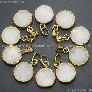 Natural-Druzy-Quartz-Agate-Round-Pendant-Charm-Necklace-Healing-Beads-Gold-16mm