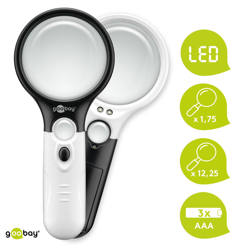 LED Lupe Leselupe mit Licht Beleuchtung 12-fach Vergrößerungsglas Juwelierlupe