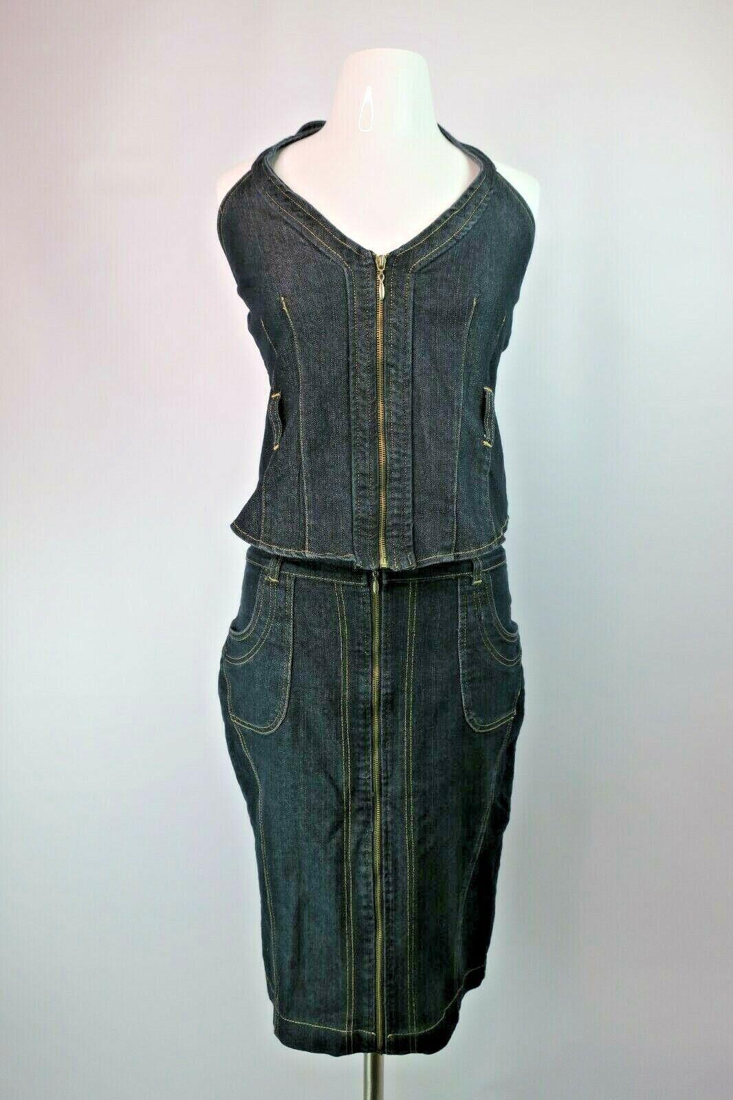 VTG 90s Dark Denim gold Flava 2pc Dress Halter Crop Skirt Zip Jean Grunge Suit