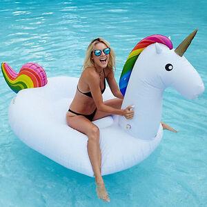 Adult Child Giant Unicorn Inflatable Raft Swimming Pool Floating Bed Swim Ring