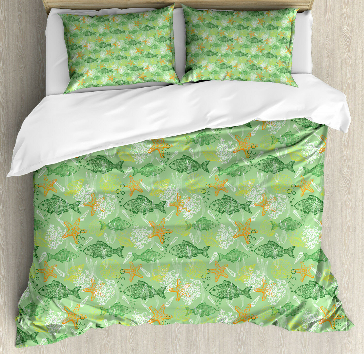 Fishes Duvet Cover Set with Pillow Shams Bass Starfish Seashell Print