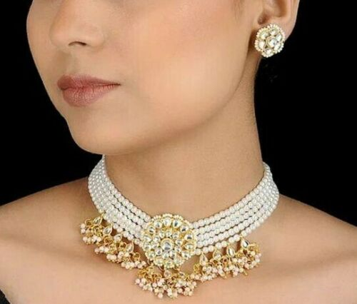 Latest Indian Bollywood Wedding Pearl Pendant Choker Necklace Earrings Jewelry