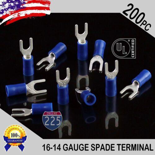 200 Pack 16-14 Gauge Vinyl Spade Fork Crimp Terminals #8 Stud Tin Copper Core UL