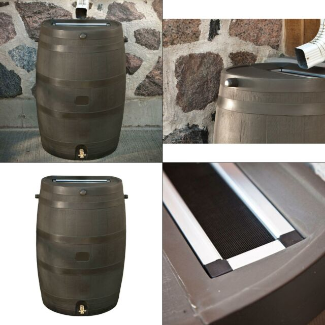 Brown RTS Home Accents 50-Gallon Rain Water Collection Barrel with Brass Spigot
