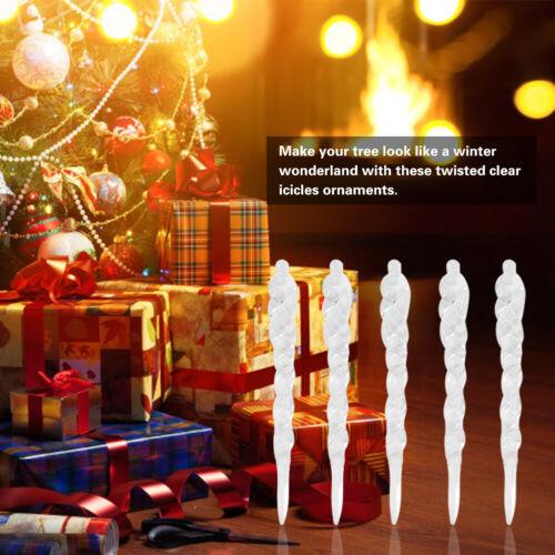 24PCS Xmas Tree Acrylic Hanging Icicle Ornaments Decoration Shatterproof crystal