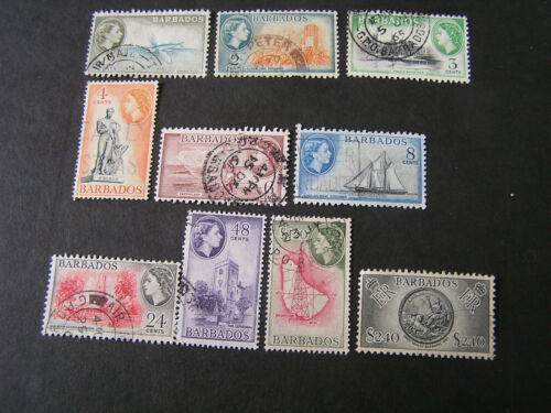 BARBADOS, SCOTT # 235-238(4)+240/241(2)243/244+246/247, 1953 QE2 DEFINITIVE USED