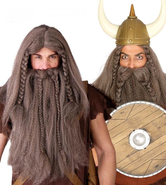Mens Ginger Plaited Viking Long Wig & Beard Fancy Dress ...