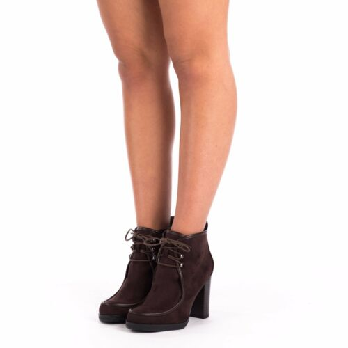 New Women/'s Ladies High Heels Chunky Platform Lace Up Ankle Shoes Boots Booties