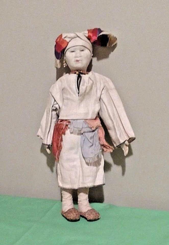 Antigüedad 14  mordwa Mujer Estoquinete Muñeca de tela hecho en la Unión Soviética, etiquetado