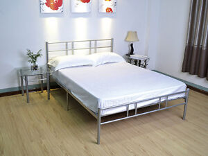 Minimalist Design Metal Bed Frame Two Support Legs In Range Of