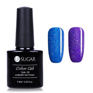 2Flaschen-Set-Blauer-Schimmer-Soak-Off-Nail-Art-UV-Gellack-Varnish-UR-SUGAR