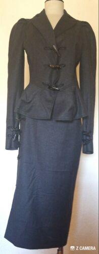 John Galliano Gray Cashmere Skirt Suit w/ Toggle B