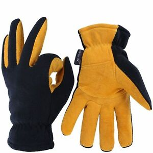 ca15cd11f0dc9 OZERO -20F Cold Proof Thermal Gloves - Deerskin Suede Leather Palm and  Polar Fleece Back with Heatlok Insulated Cotton Layer, Tan-Black, XL