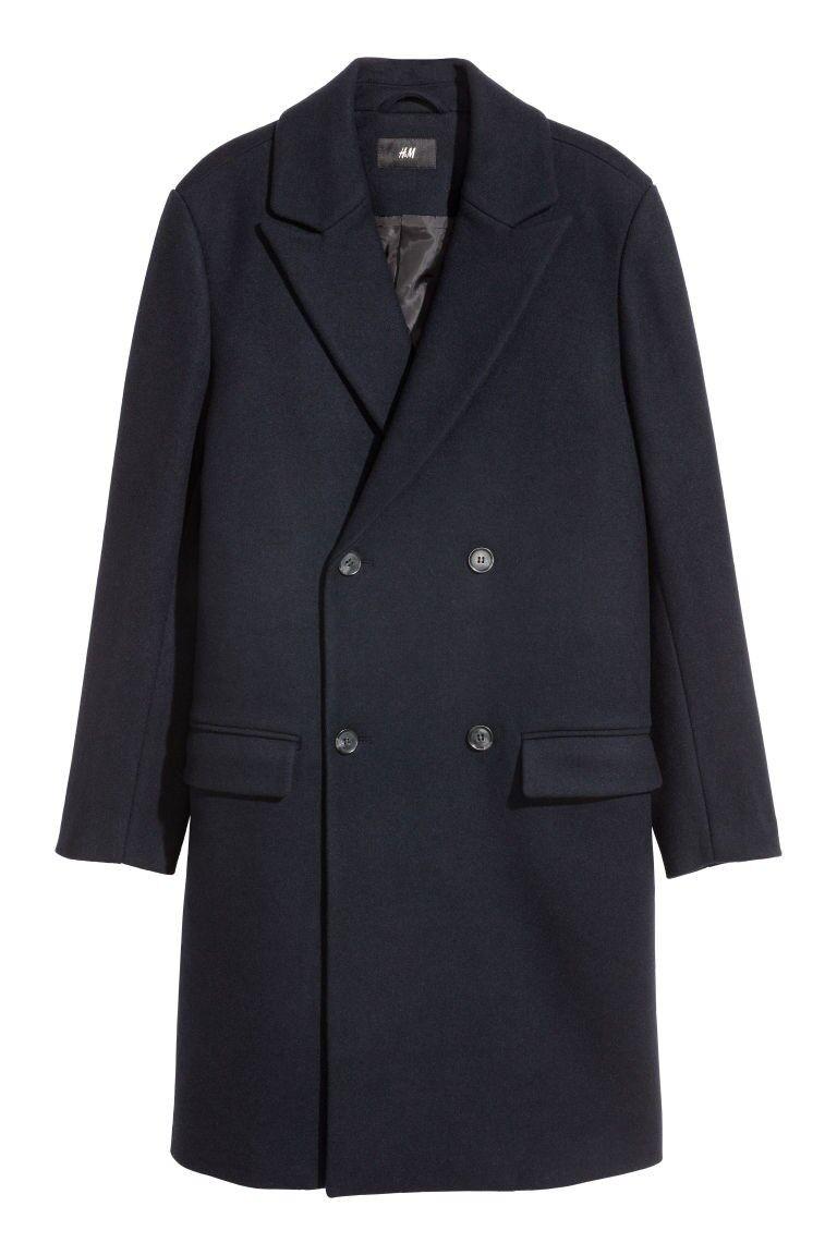Brand New H&M Men Dark bluee Navy Wool-blend Coat Topcoat Overcoat U.S. size 38R