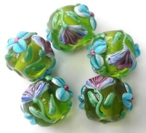 10pcs-handmade-Lampwork-glass-round-Beads-flower-14mm-green-flower