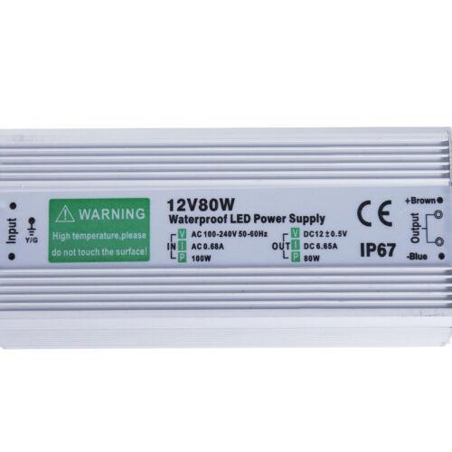 IP67 Waterproof LED Driver 80 w Watt 12 v 6.65A power supply transformer outdoor