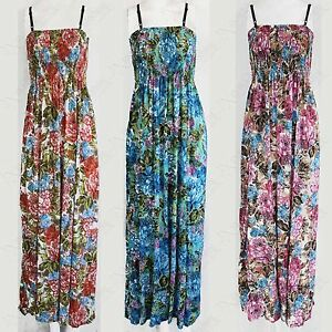NEW-WOMENS-FLORAL-PRINT-STRAPPY-MAXI-DRESS-BANDEAU-LADIES-BOOBTUBE-LONG-DRESSES