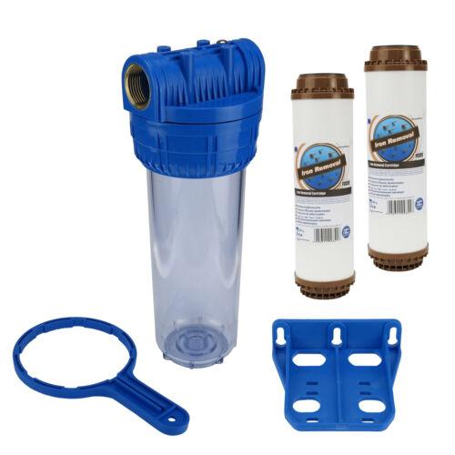 """Wasser Filtergehäuse 10/"""" 3-teilig 1/""""IG Messing Vorfilter Brunnen 2x Eisenfilter"""