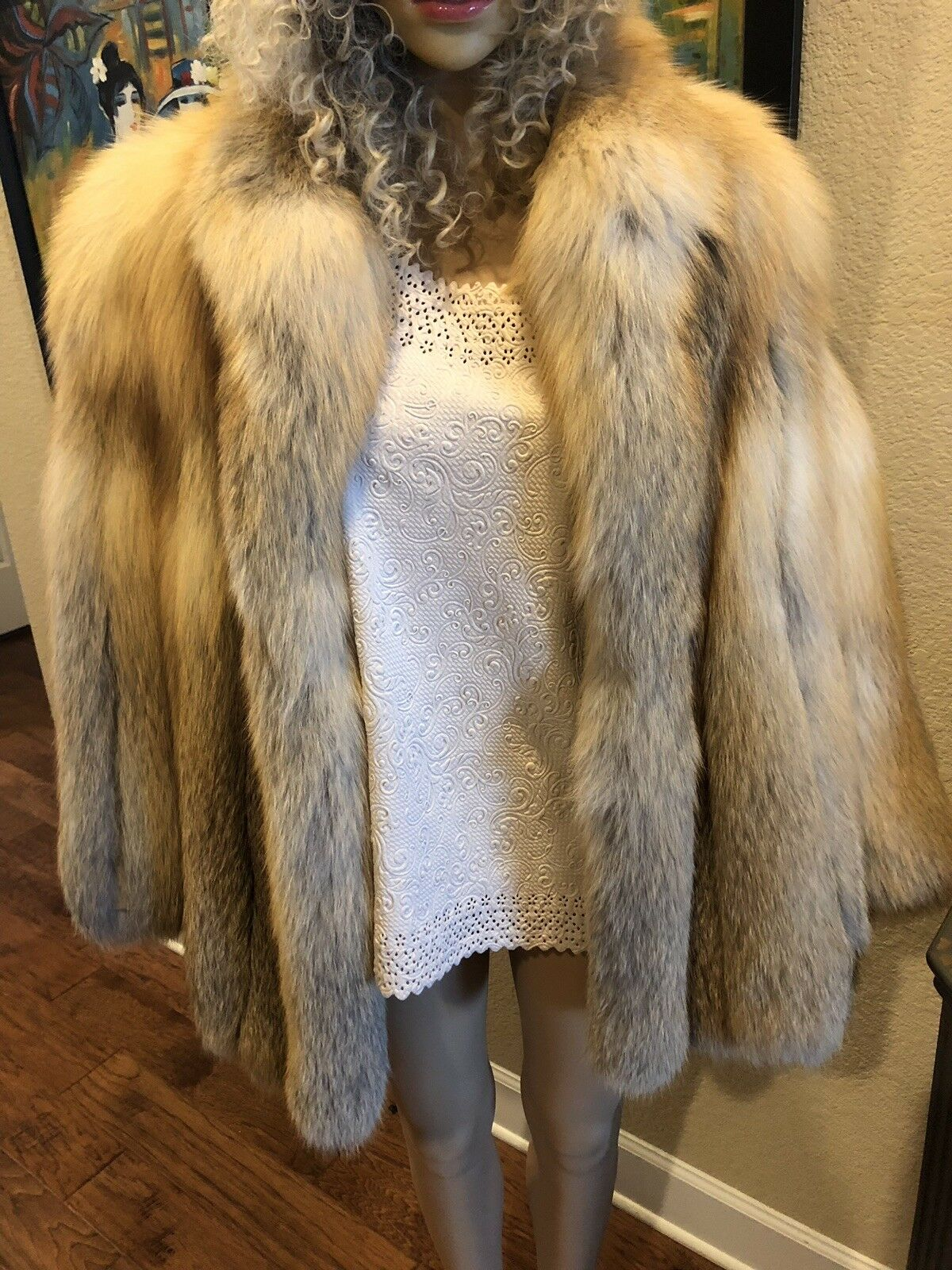 Incredibly Soft Red Fox Fur Coat with Fluffy Collar