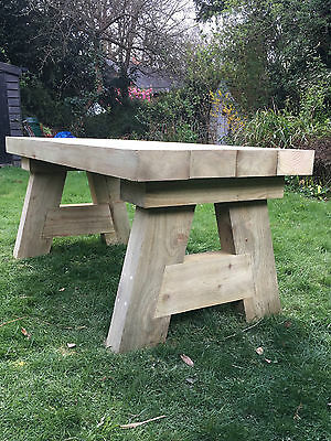 Handmade Solid Wooden Sleeper Garden Table Pub Dining Kitchen   EBay