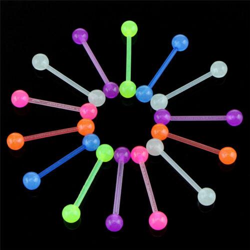 20PCS//Set Luminous Ball Flexible Barbell Stud Tongue Ring Bars Body Piercing Vy