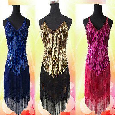 Sexy Lady Copper Sequins Ballroom Salsa Samba Rumba Latin Dancewear Dress 6Color