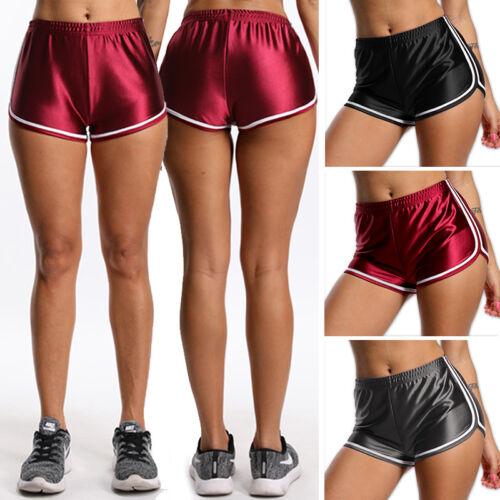 Womens Satin Yoga Shorts Workout Track Shorts Running Gym Fitness Hot Pants X224