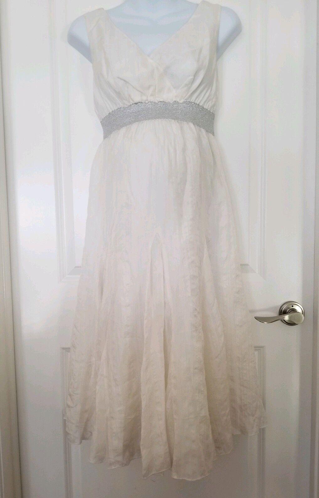 Mimi Maternity Silk Dress Cream Beige Small