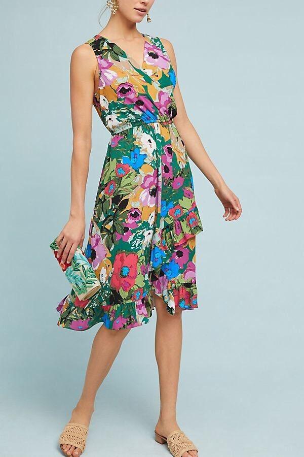 NWT Anthropologie Daphne Wrap Dress By Plenty Tracy Reese Green Motif Size S