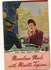 Recipe Booklet For Marvelous Meals With Minute Tapioca 1938 General Food