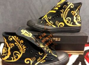a8929e17ff3b Gold Floral Converse All Stars Custom Hand Painted Canvas Sneakers ...