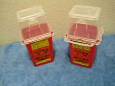 Pair Of Bd Sharps Needle Container 15 Quart 14l Vertical Entry Lid 305487 2