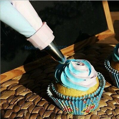 DOUBLE COLOR ICING PIPING BAG NOZZLES SET TOPPER CAKE DECORATING COOKIE FONDANT