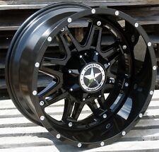 "20"" Gloss Black Lonestar Outlaw Wheels Ford Chevy Dodge 2500 3500 20x10 8x165.1"