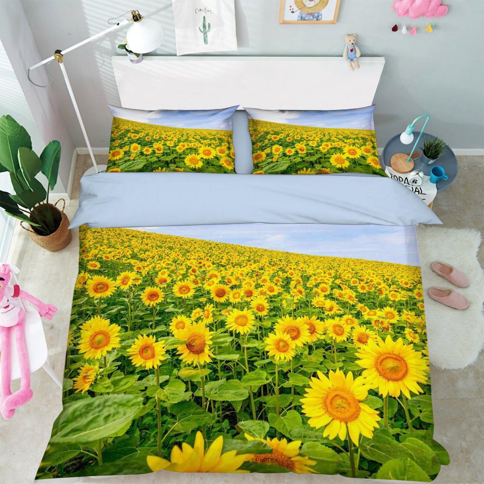 3D Sky Sunflower 67 Bed Pillowcases Quilt Duvet Cover Set Single King UK Summer