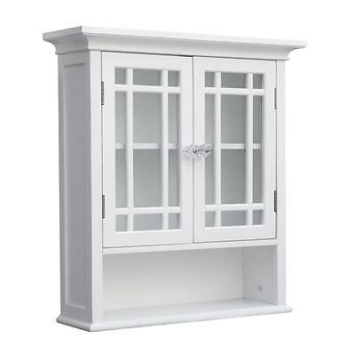 Neal Wall Mount Cabinet w 2 Doors for Bathroom Storage, White or Espresso