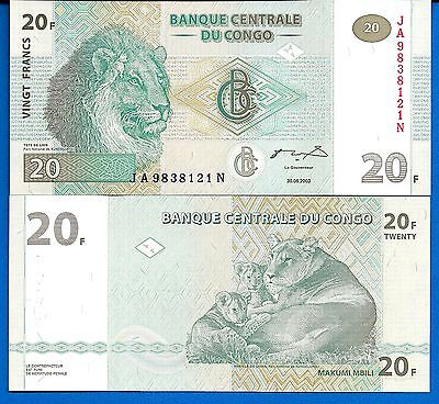 Congo P-83  20 Centimes Year 1997 Uncirculated Banknote Africa