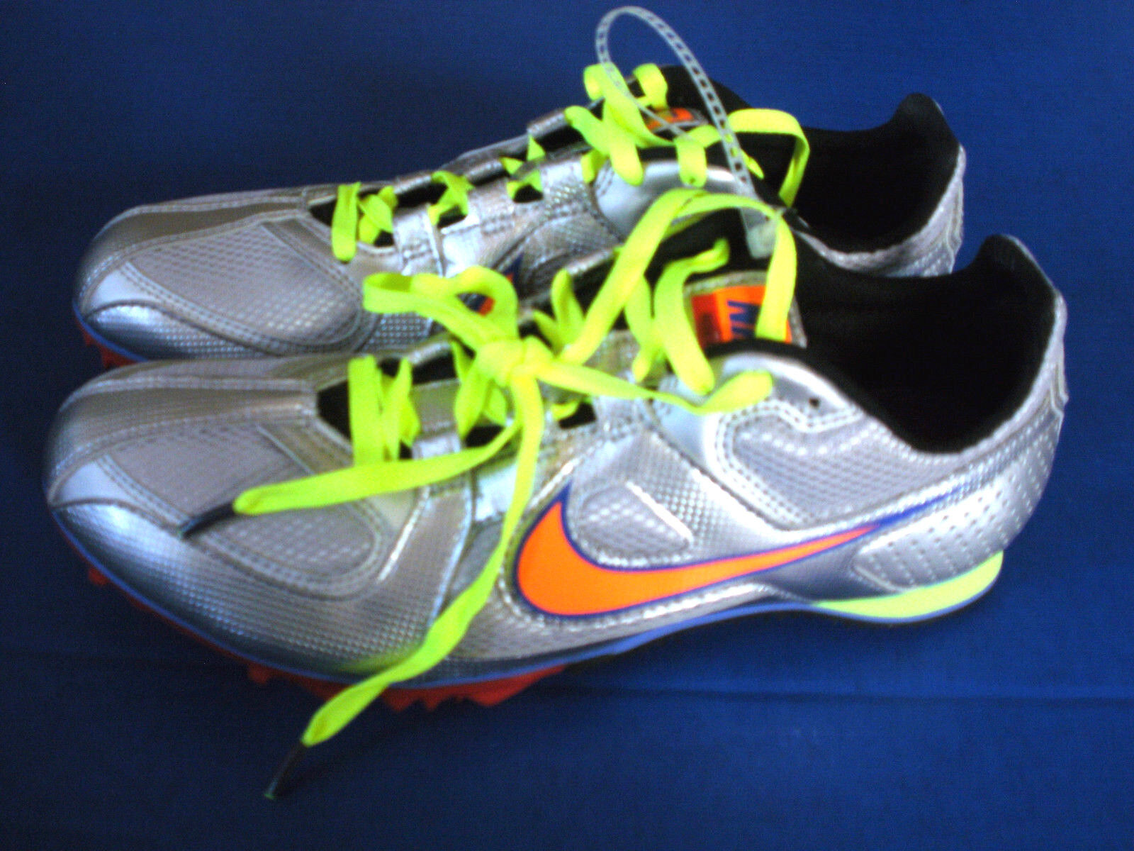 NIKE Track & Field~RIVAL MD~Silver Yellow & Orange~Running Shoes~ Men's 15~NEW