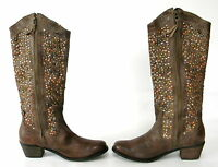 Chocolat Blu Shelby Brown Leather Studded Mid Shaft Boot Size 10 Women Boots
