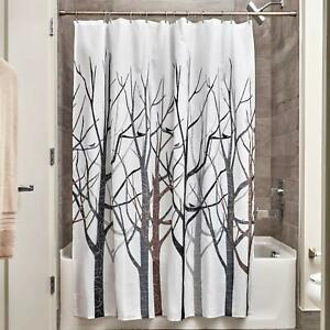 New Modern Winter Barren Tree Brown Grey Black White Fabric Shower