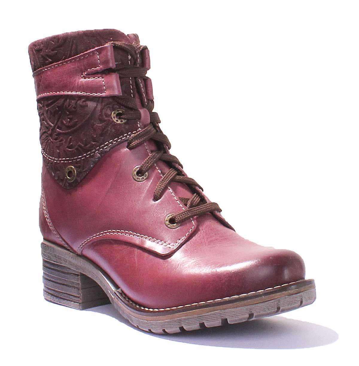 Dromedaris Kara Print Womens purple Waxy Creased Leather Boots UK Size 3 - 8