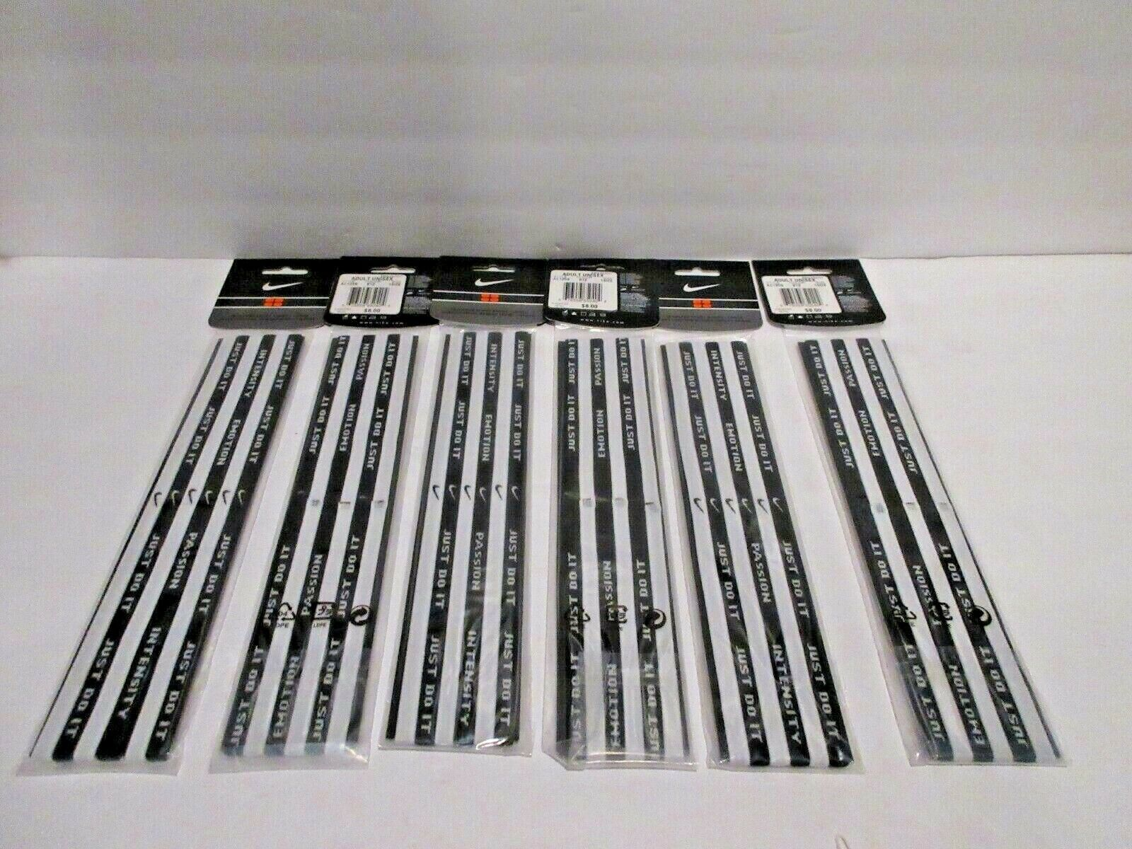 Nike Seamless Wide Sport Bands Just Do It Adult Unisex Large Black & White Lot 6
