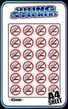 NO SMOKING SIGN STICKER DECAL SET A4 PAGE 45mm NON SMOKERS BNIP CHEAP FREE POST