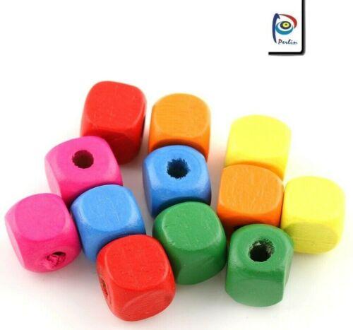 400 madera perlas 6mm multicolor cubo joyas bastelholz niños madera perlas Best h171
