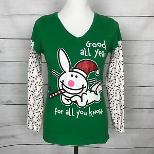 Christmas-Long-Sleeve-Top-Blouse-Pullover-bunny-candy-cane-Good-all-year-Size-L